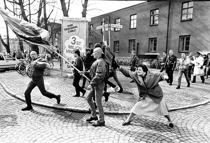 Danuta Danielsson Hitting A Neo-Nazi With Her Handbag In Växjö, Sweden, 13 April 1985