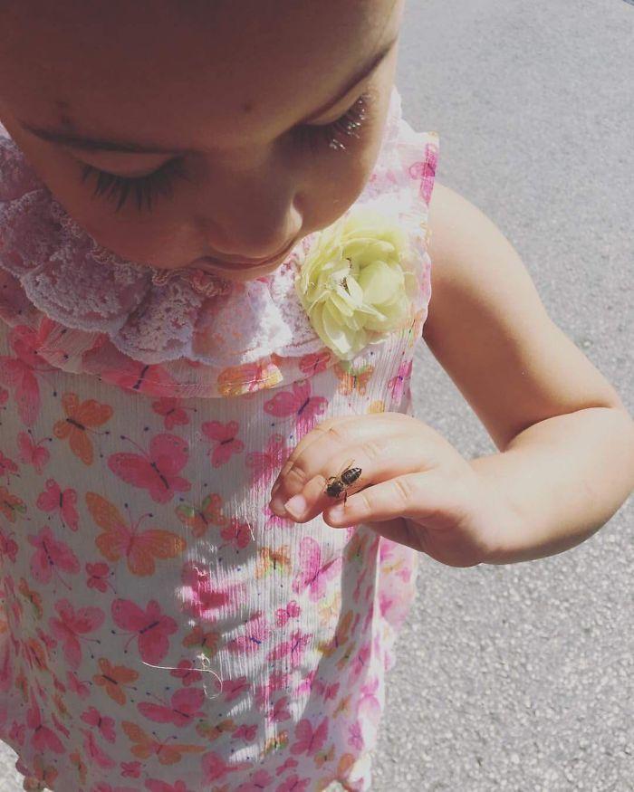Mi hija se había comido una golosina de miel y una abeja se posó en su mano. Antes de que se asustara, le dije que solo quería coger la miel que tenía en los dedos, y que era su amiga