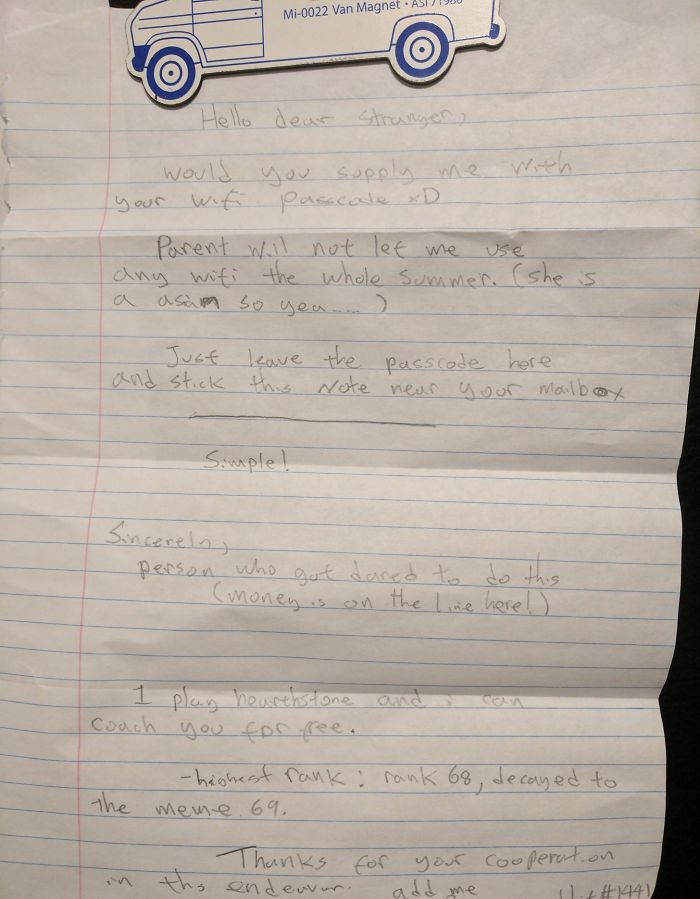 Neighbor Kid Put This Letter In My Mailbox, I'm Tempted To Do It