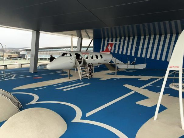 The Children's Playground At The Airport In Zürich, Switzerland Is A Miniature Airport