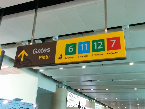 This Airport Sign Tells You The Walking ETA To Different Gates