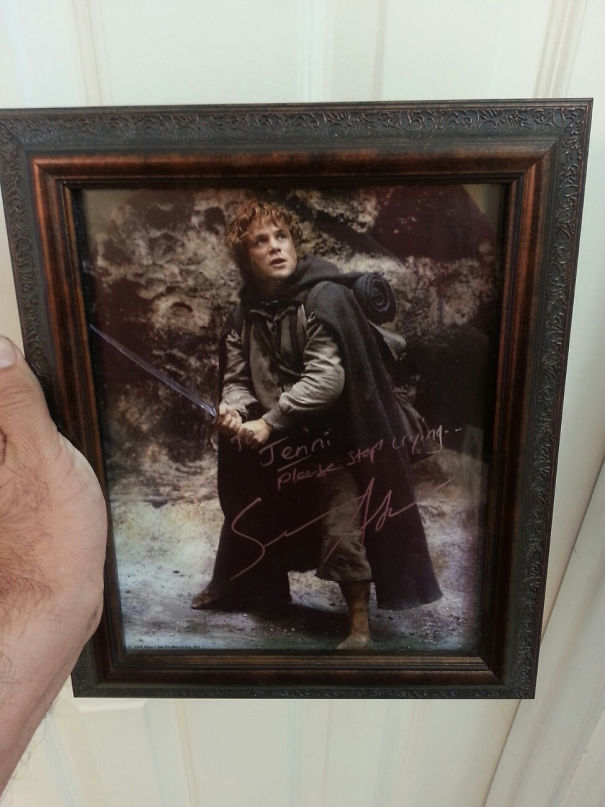 Met Sean Astin At A Comic-Con. I Told Him My Wife Cries At The End Of 'Fellowship Of The Ring,' When Sam Chases After Frodo's Boat, Every Time. This Was The Autograph I Got