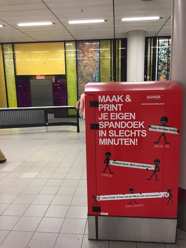 You Can Print A Banner In The Arrivals Area Of Amsterdam Airport