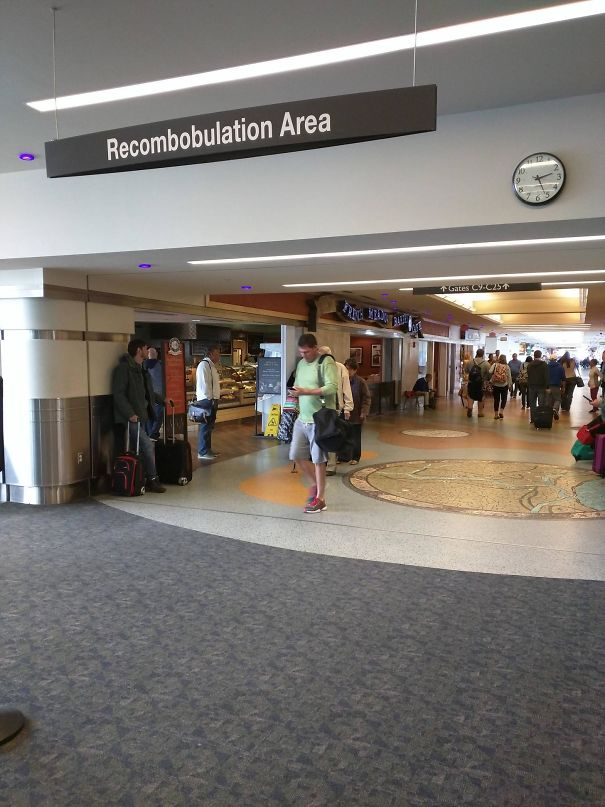 "The Milwaukee Airport Has A ""Recombobulation Area"" For Getting Your Stuff Together After Security Screening"