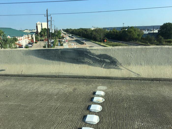 Tire Mark On Highway Looks Like Hummingbird