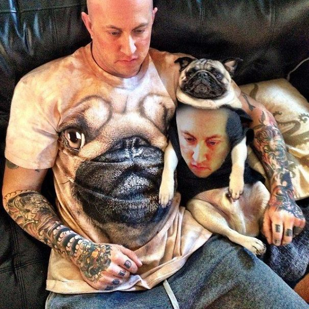 Husband In Pug Shirt, Pug In Husband Shirt