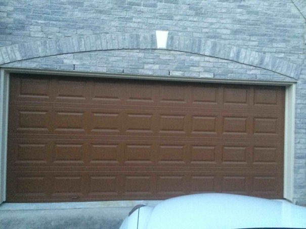 So My Parents Wanted Their Garage Door To Look Wooden But I Think It Looks More Like A Giant Hershey's Bar