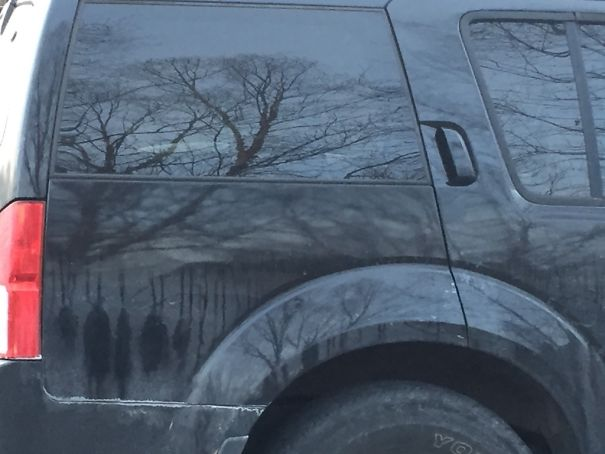 Strange Dirt Formation On My Car Looks Like People Hanging