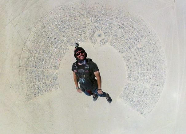 Amazingly, Perfect Shot Of My Friend Skydiving Into Burning Man