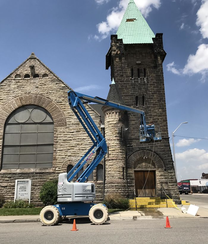 This Church In Detroit, Mi Hasn't Been Cleaned Since It Was Built 134 Years Ago. I Always Thought The Stone Was Black