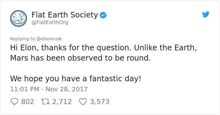 Elon Musk Destroys The Flat Earth Society With A Single Question