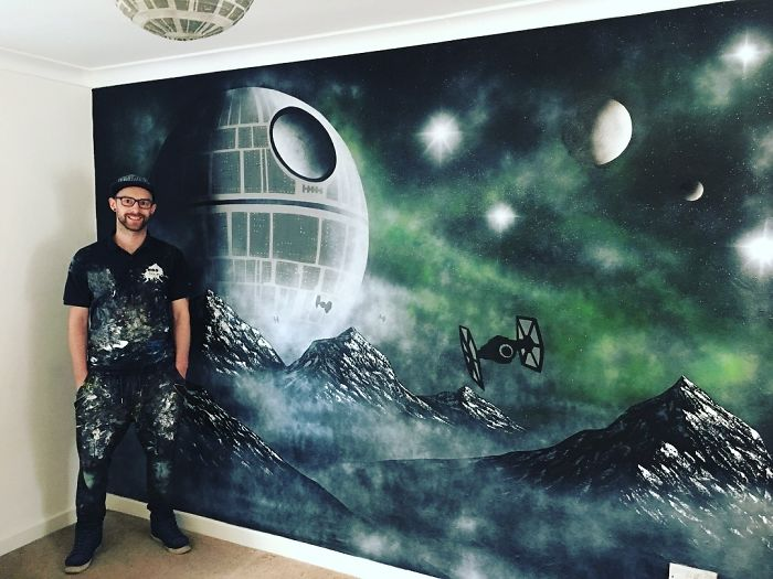 I Painted A Death Star Mural For A Child's Bedroom