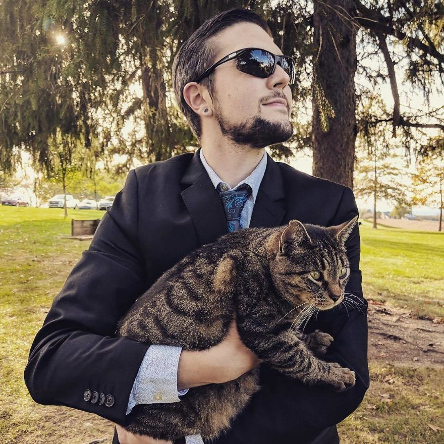 Man Cuddles Cats On Instagram