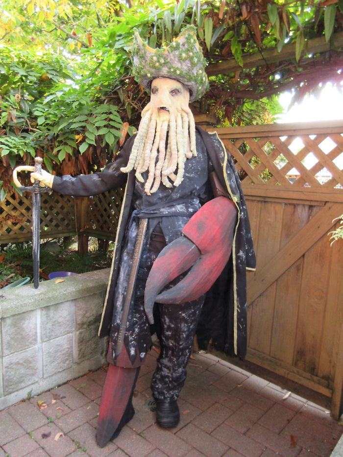 I Began Working On This Costume Back In August And Probably Spent Over 100 Hours Creating It… So Here It Is, My Davy Jones Halloween Costume