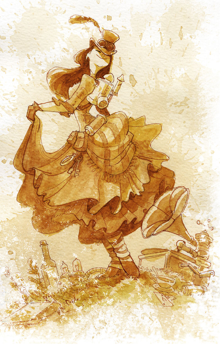 I Paint With Tea To Create Steampunk Art.