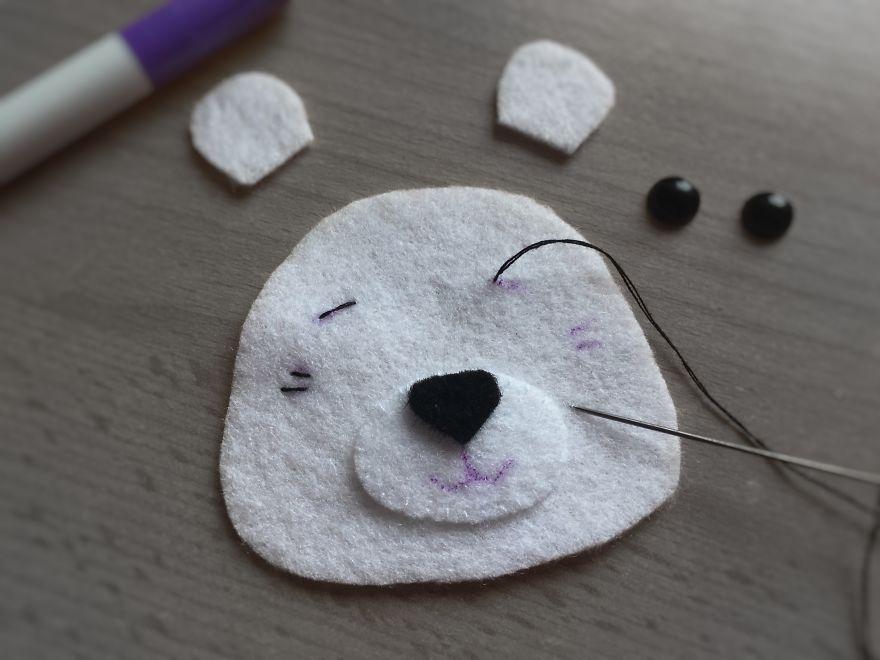 polar bear face drawing