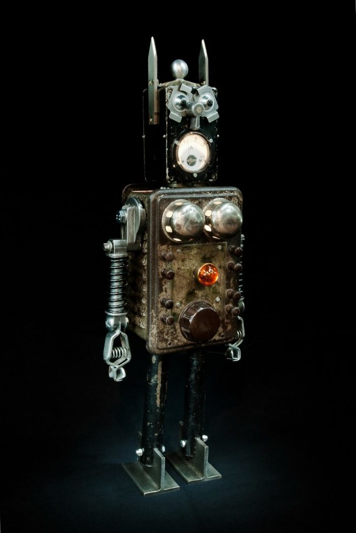 Robots Reborn. Upcycled Illuminated Art Robot Sculptures By +brauer