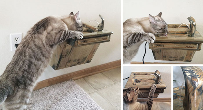Wooden Cat Drinking Fountain