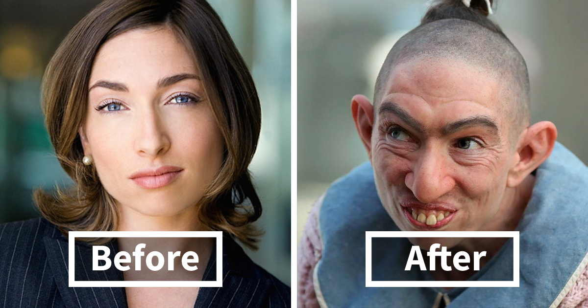 40 incredible pics of actors before and after applying movie makeup
