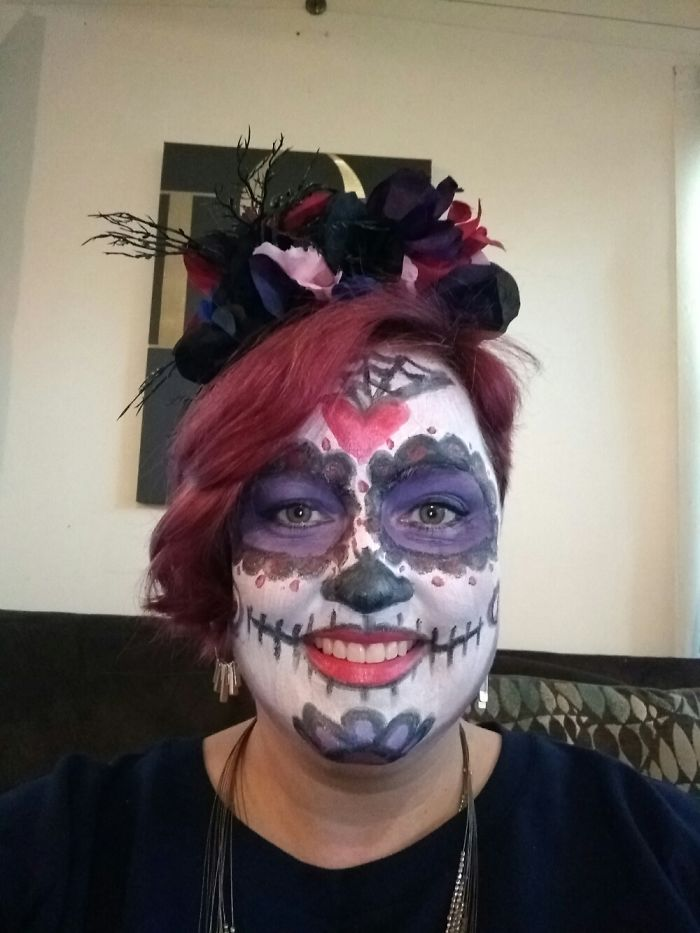 My First Try At Sugar Skull Makeup.
