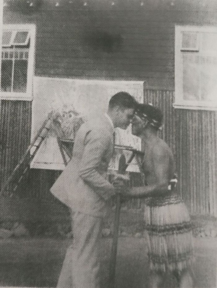 Grandpa Doing The Hongi Greeting At A Maori Village In New Zealand