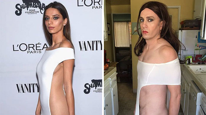 30+ Times Celebrity Outfits Were Hilariously Recreated By Former 'Buffy' Star Using Only Stuff He Found At Home