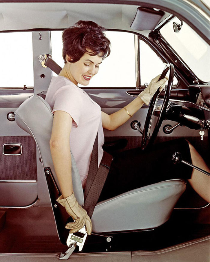 My Grandmother Demonstrating The Three-Point Belt As A Model For Volvo In 1959