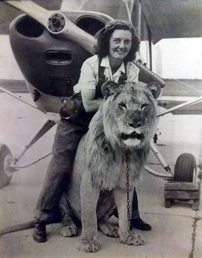 My Grandmother With Sultan, Her Favorite Lion From Her Troop, In Front Of Her Plane She Flew Just After WW2 (1947)