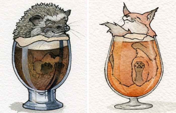 Watercolor Artist And Home Brewer Creates Cute Drawings Of Animals Chilling Out In Booze