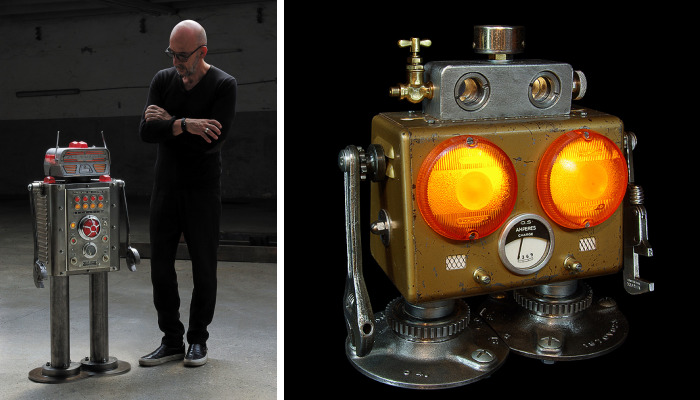 I Sculpt Illuminated Robots From Upcycled Materials