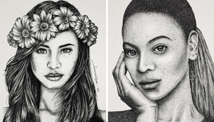 My Portraits Are Created From Thousands Of Dots