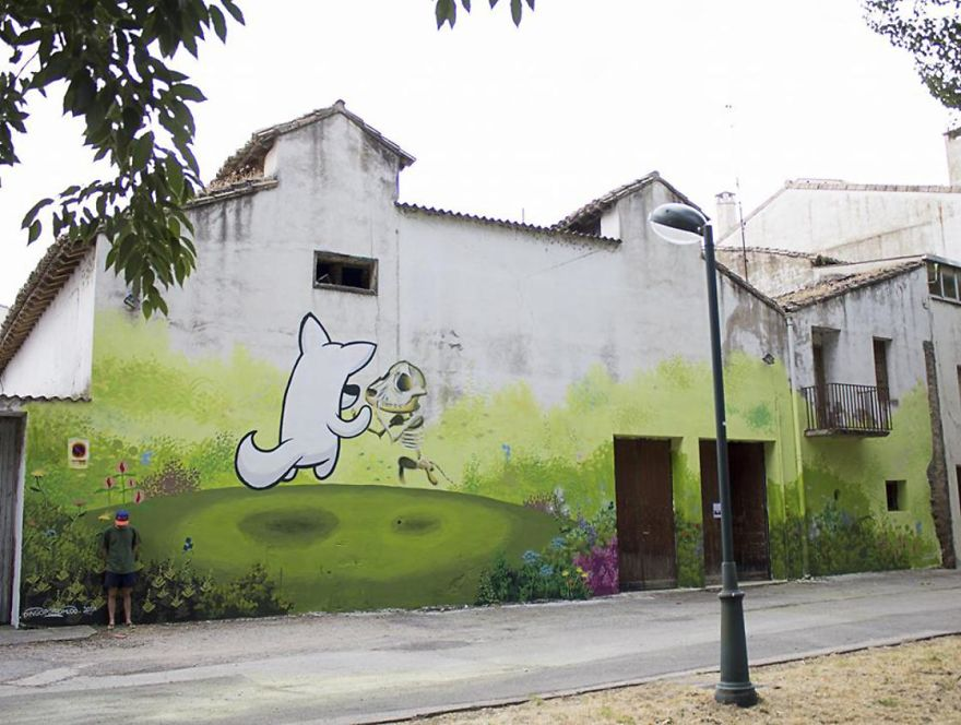 Artist Mixes His Mascot, An Adorable White Dog With Wonderful Street Arts
