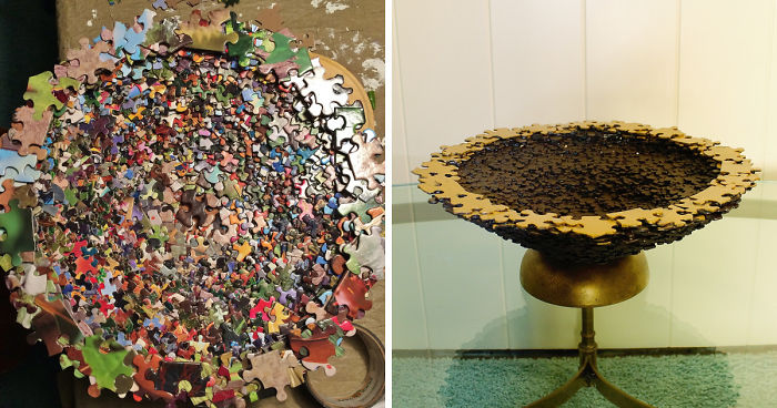 A Bowl Made From Puzzle Pieces Inspired
