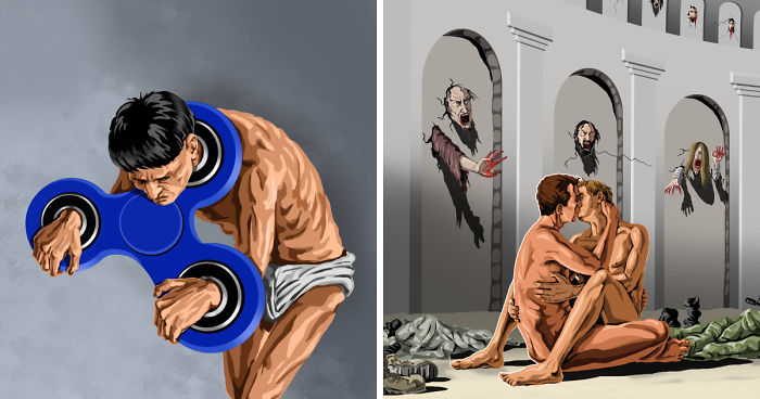 satirical illustrations of today s problems by gunduz agayev bored