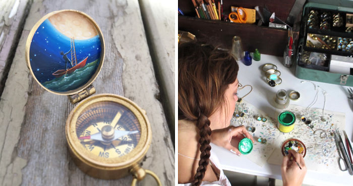 I Encourage People To Find Their Way By Painting Miniature Scenes On Compasses