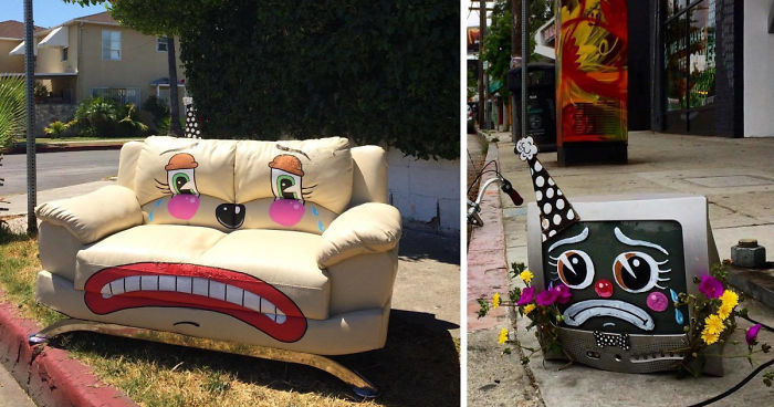 Artist Shows The Sorrow Of Thrown Away Objects He Finds In The Streets By Drawing Sad Clown Faces On Them