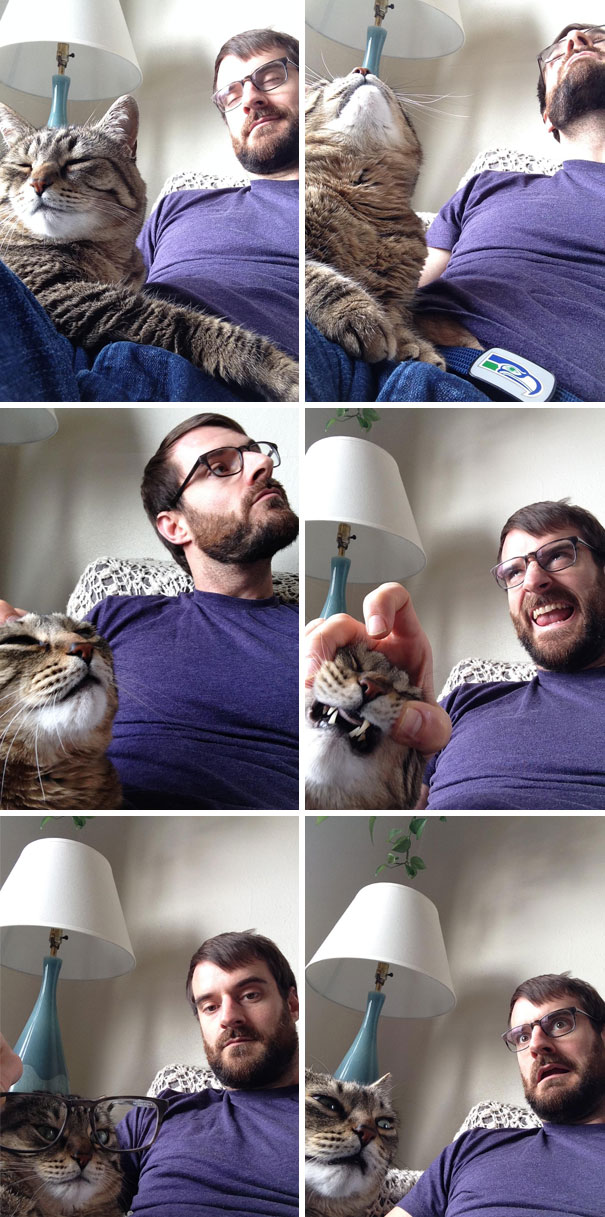 My Wife Is Stuck At Work Today, So Me And The Cat Texted Her Some Selfies