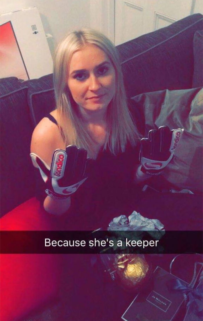 So My Sister Got Goalie Gloves For Christmas From Her Boyfriend For 'Being A Keeper'