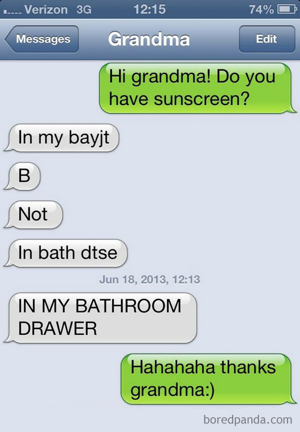The Conversation I Had With My Grandma Today. She Loves Texting