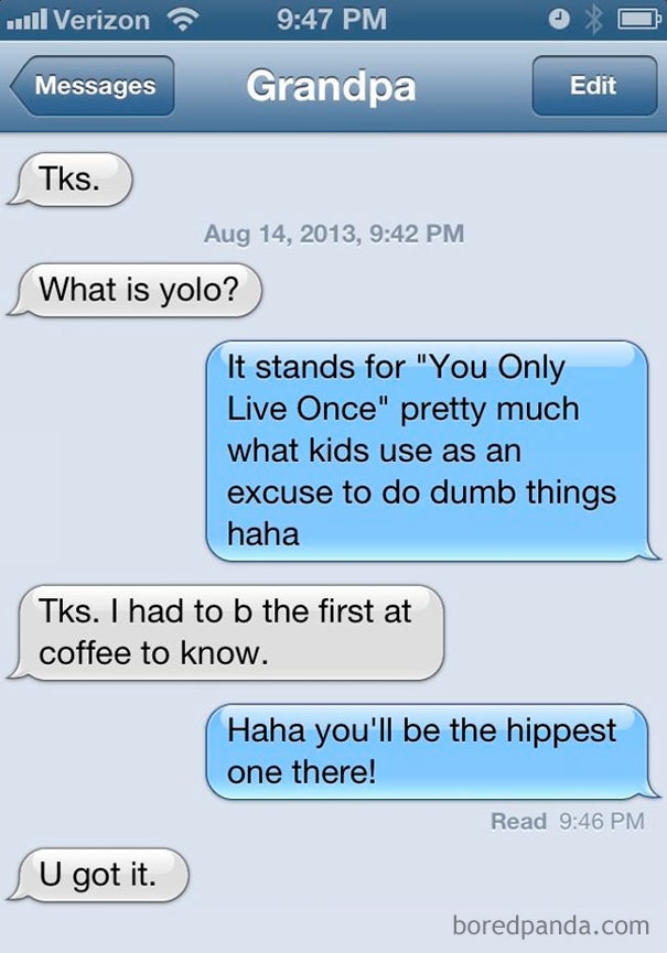 My Grandpa Drinks Coffee With A Group Of Old Guys Every Morning. I Get Texts Like These All The Time