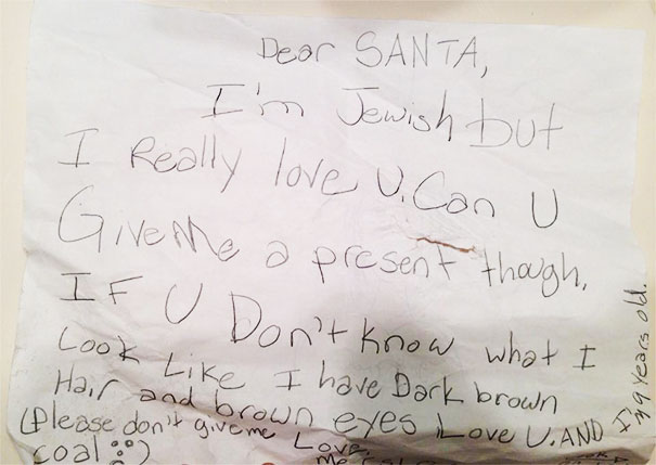 As A Jew, Christmas Time Was Always The Hardest Time Of The Year. This Is What I Wrote To Santa When I Was 9