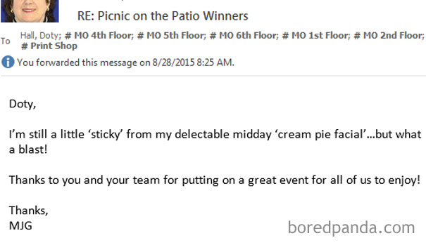We Had A Large Corporate Event Yesterday Where Some Bosses Got Hit With Pies For Charity. One Of The Female Bosses Sent This Email To The Whole Main Office