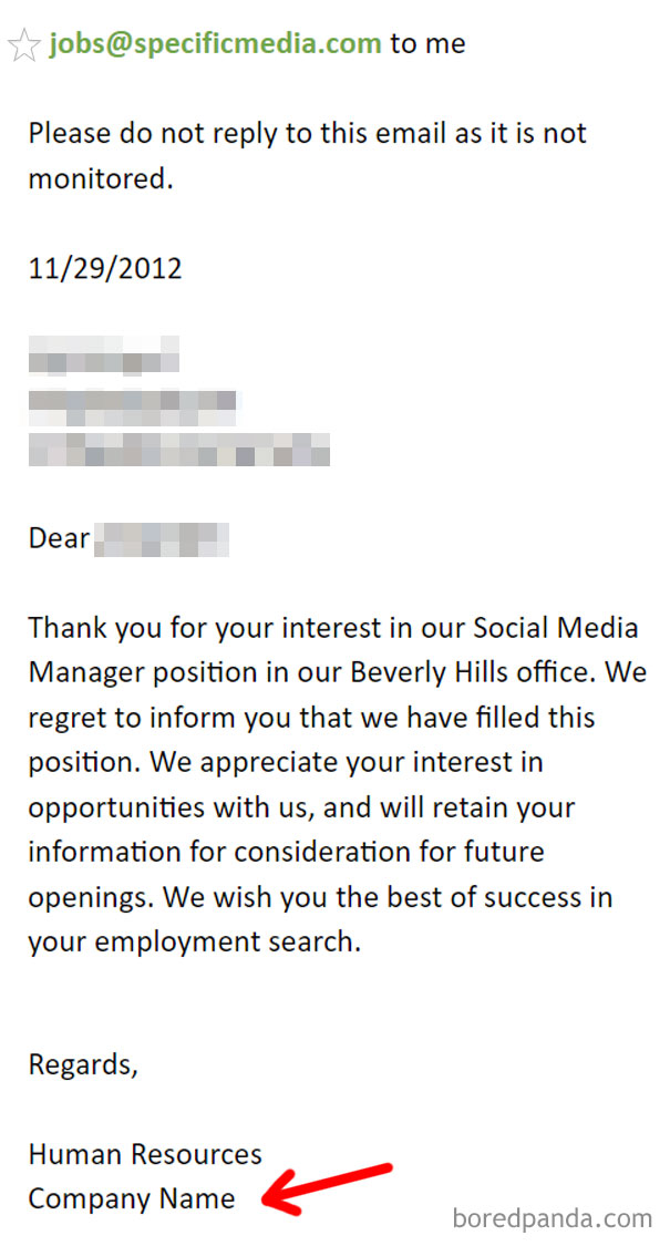 I'm Getting Used To The Generic Job Rejection Email... But This Is Just Lazy