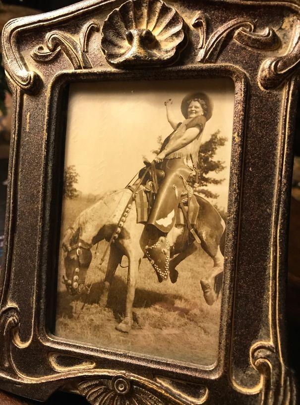 My Grandma On A Fake Bucking Bronco.