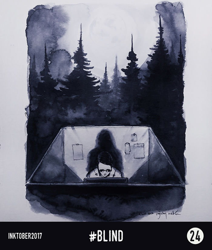 I Made These Ink Paintings For Inktober 🖋