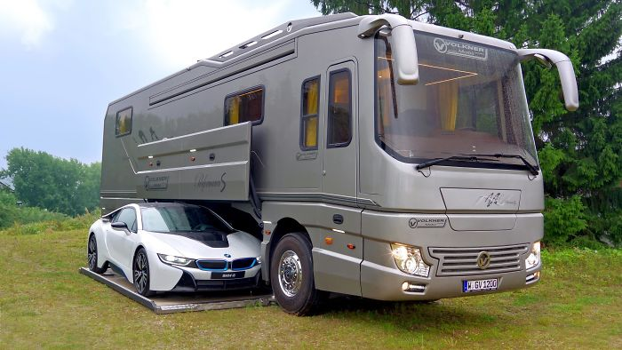This 1 7 million motorhome with its own garage may look for Mini putt laval exterieur