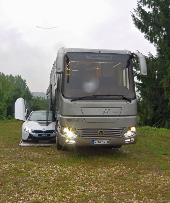 This 1 7 million motorhome with its own garage may look for Rv with car garage