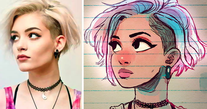 Illustrator Turns Strangers Into Manga-Like Characters, And The Result Is Spot On