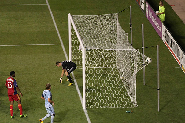 Perfectly Timed Photo During A Mls Match