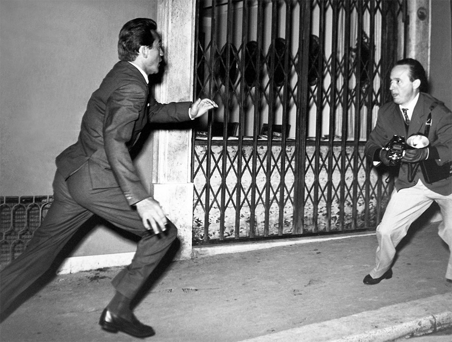 Tazio Secchiaroli Flees An Angry Walter Chiari. The Actor At The Time Was In A Relationship With Superstar Ava Gardner And Was Followed Every Step By Paparazzi. Rome, 1957